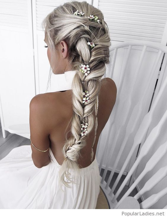 Side Long Braid With Flowers Hair Styles Long Hair Styles Hairstyle