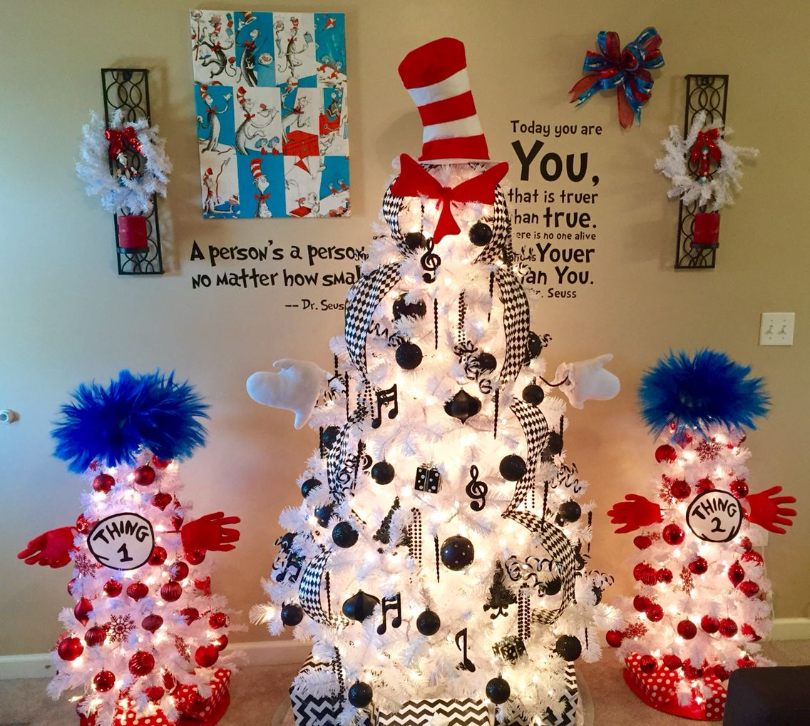 Cat In The Hat Trio Of Trees Christmas Tree Themes Unique Christmas Trees Christmas Tree Decorations