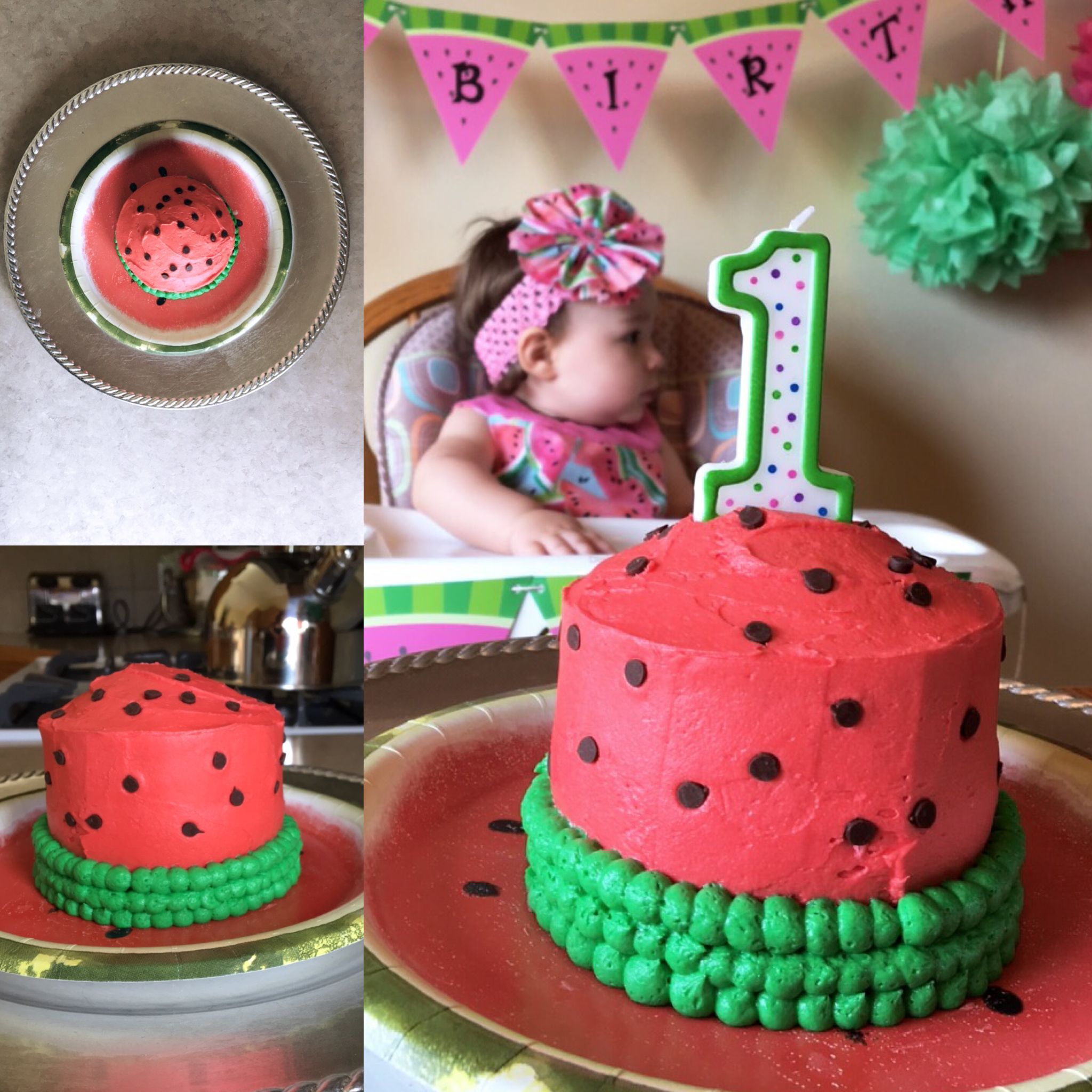 Remarkable Watermelon Themed First Birthday Party Smash Cake With Images Funny Birthday Cards Online Inifofree Goldxyz