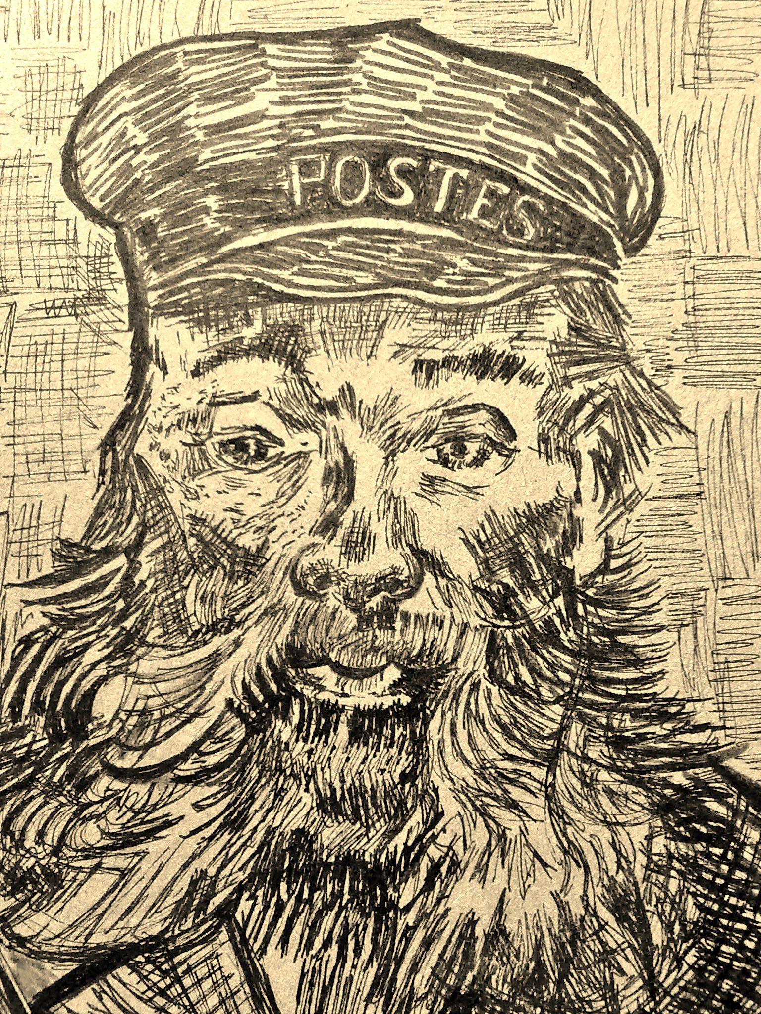 Postie By Julie Grant Field Drawn From Van Goghs Drawing