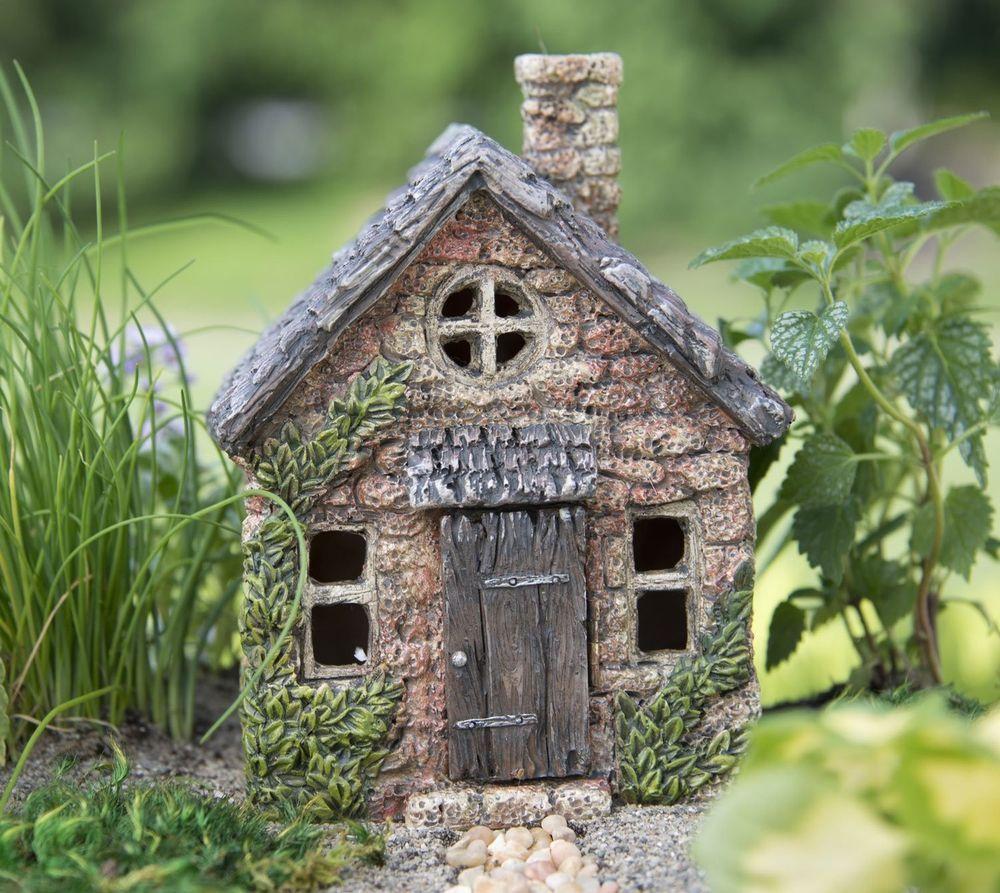 Fairy House Garden Pixies Cottage Mini Home Sculpture Outdoor Patio ...