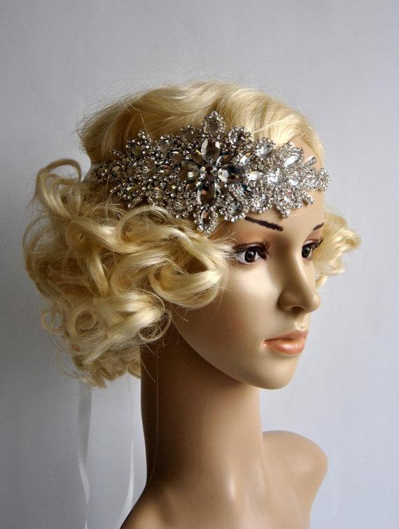 Glamour Rhinestone flapper Gatsby Headband, Wedding Headband, Crystal Headband, Wedding Headpiece, Bridal Headpiece, 1920s Flapper headband $55.00