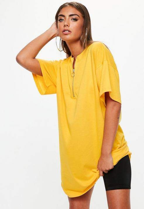 Missguided Yellow Oversized Zip Up Front T Shirt Dress  5c4b2d80f