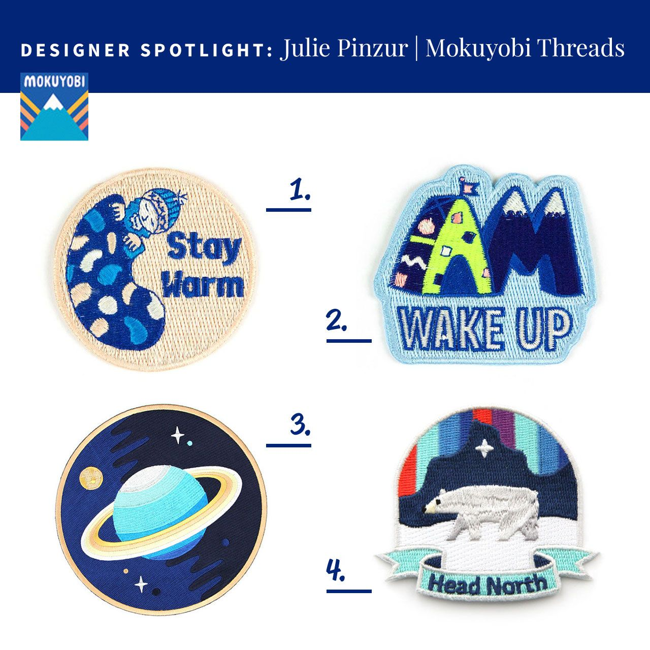Designer Spotlight Julie Pinzur Of Mokuyobi Threads Embroidered Patches Stay Warm Design