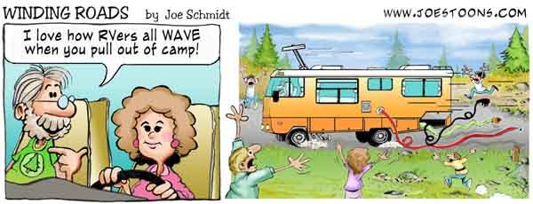 Rv Joe Schmidt Winding Roads Cartoon Campground Motorhome
