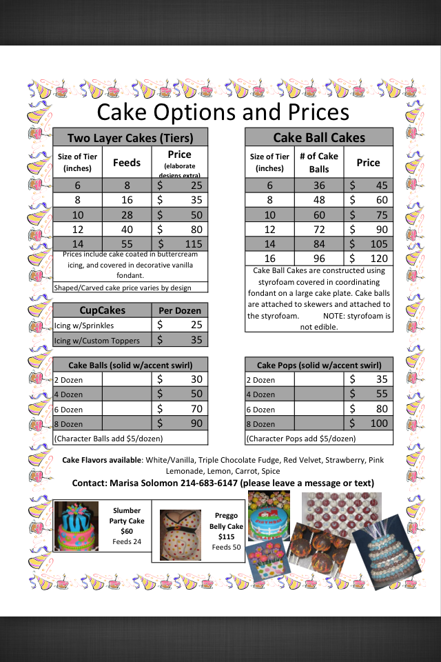 Cake Price Sheet  Cake Prices Ideas    Cake Pricing