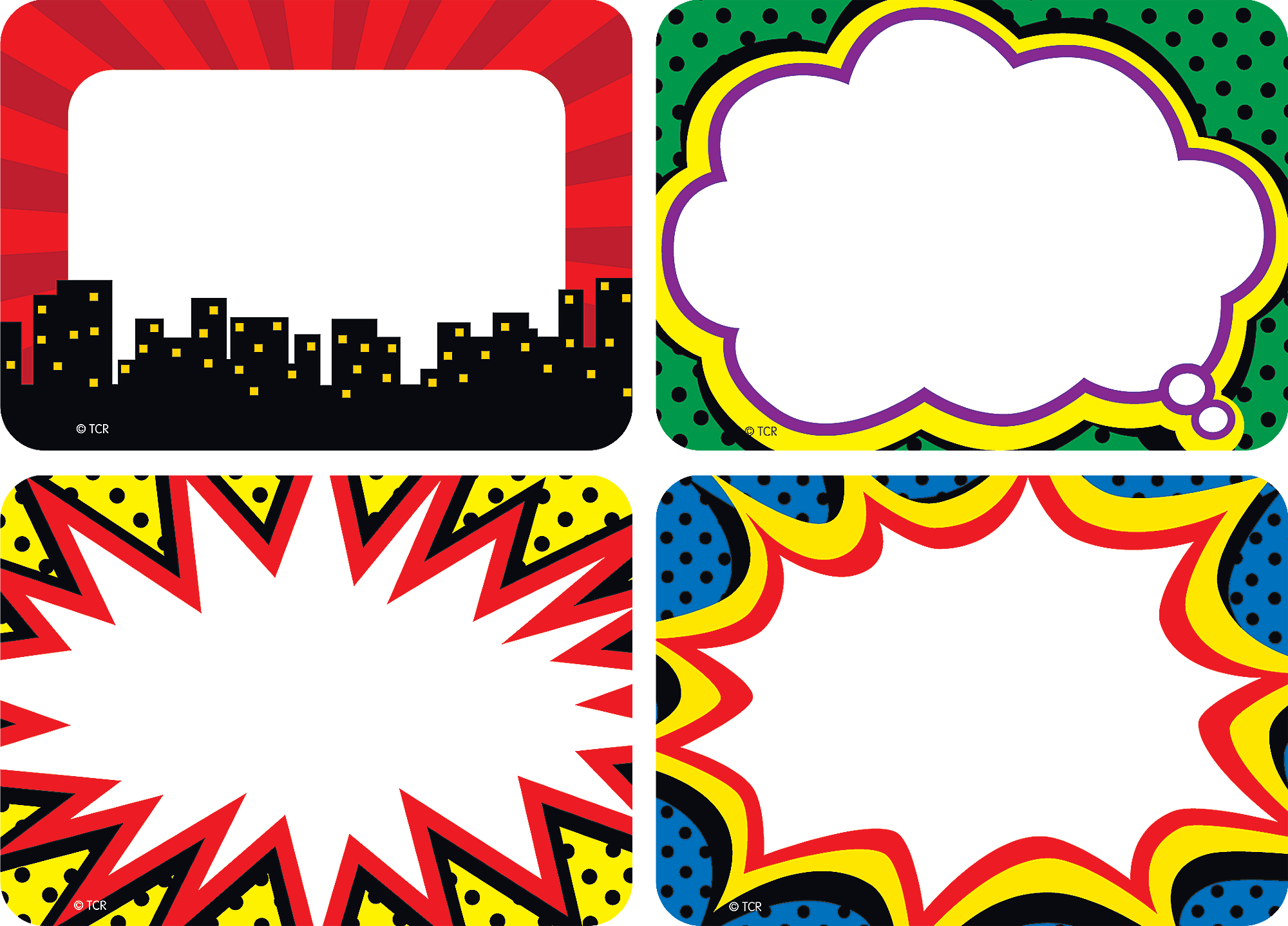 Superhero Name Tags Labels Multi Pack Kartu Nama Ulang Tahun Kartu