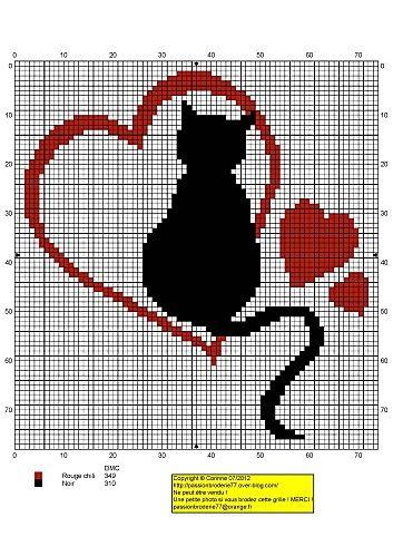 Chat-coeur   broderie   Pinterest   Das herz, Herzchen und Katzen