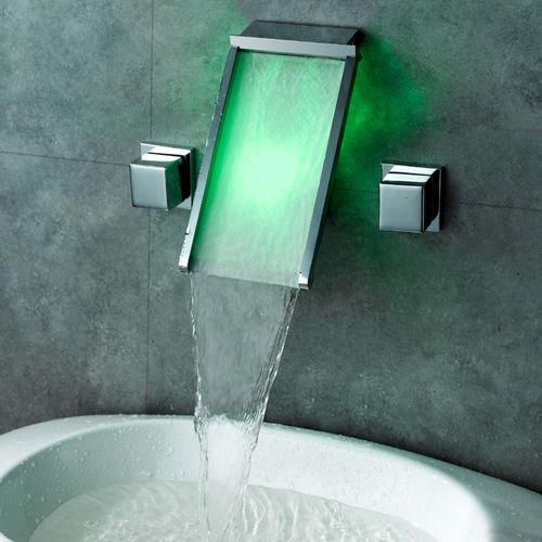 Modern Chrome Waterfall Led Wall Mounted Basin Mixer Tap Free