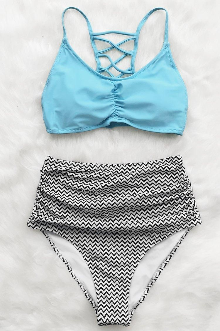 3dcc74f069 Sky Blue and Chevron Print High-Waisted Bikini in 2019 | CupShe 2019 ...