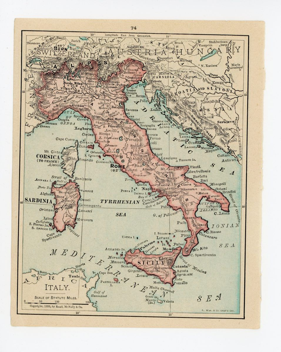 Map Of Spain Portugal And Italy.1911 Concise Atlas Vintage Map Pages Italy On One Side Spain