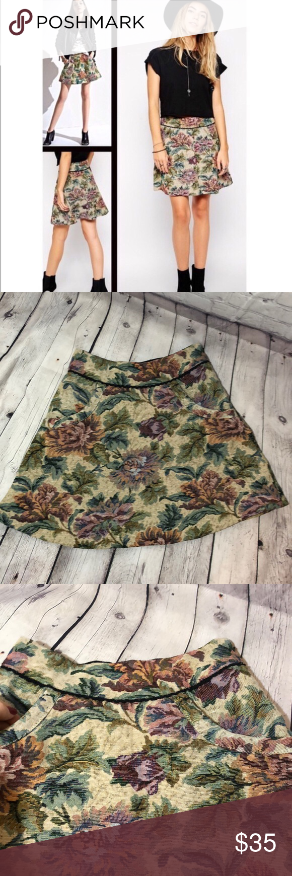 35aac30f8 Free People Tapestry Mini Skirt Floral Free People tapestry mini skirt.  Floral print with beige