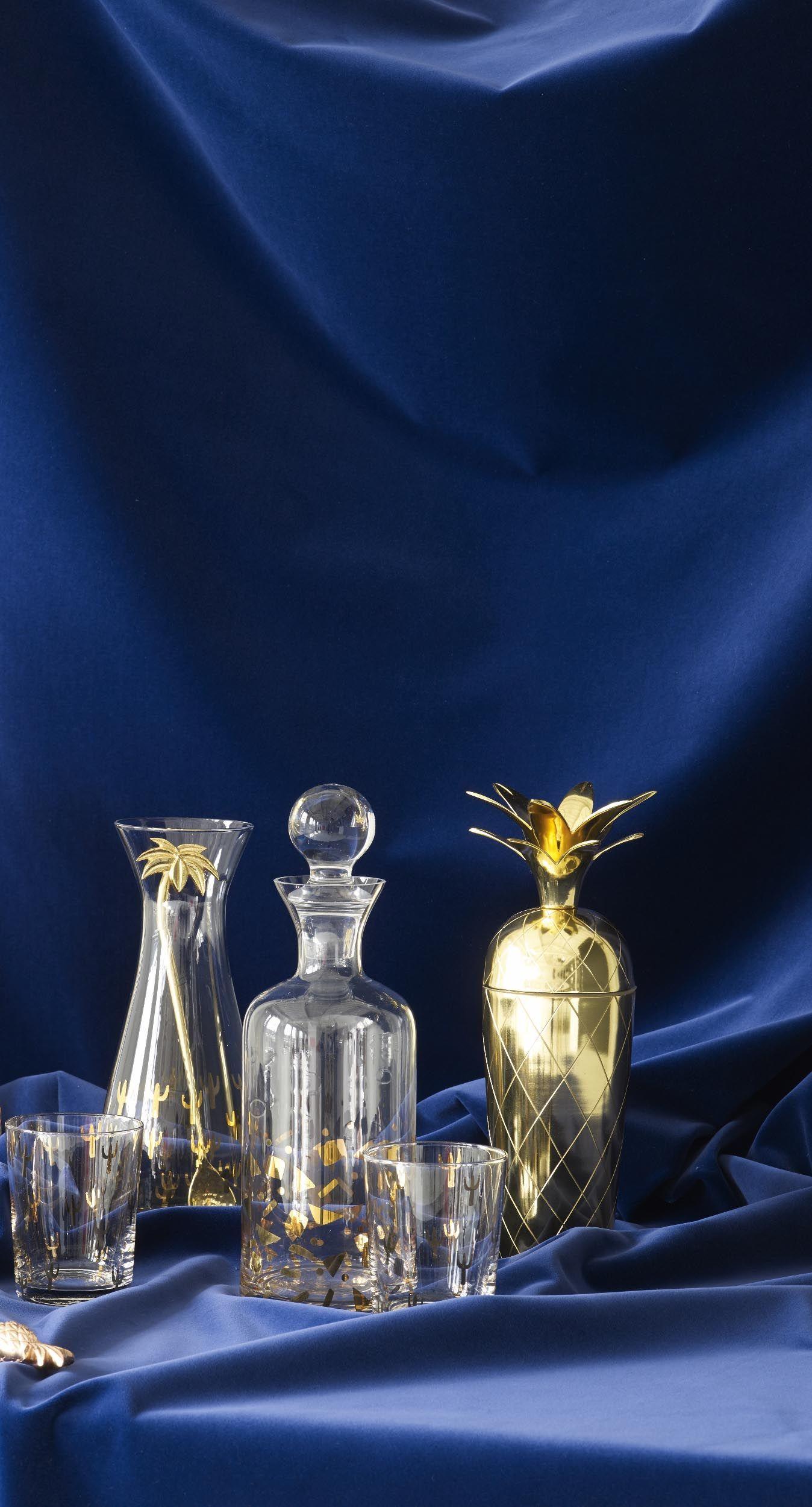 Gold Confetti Carafe Gold Confetti Glass Glass Vase