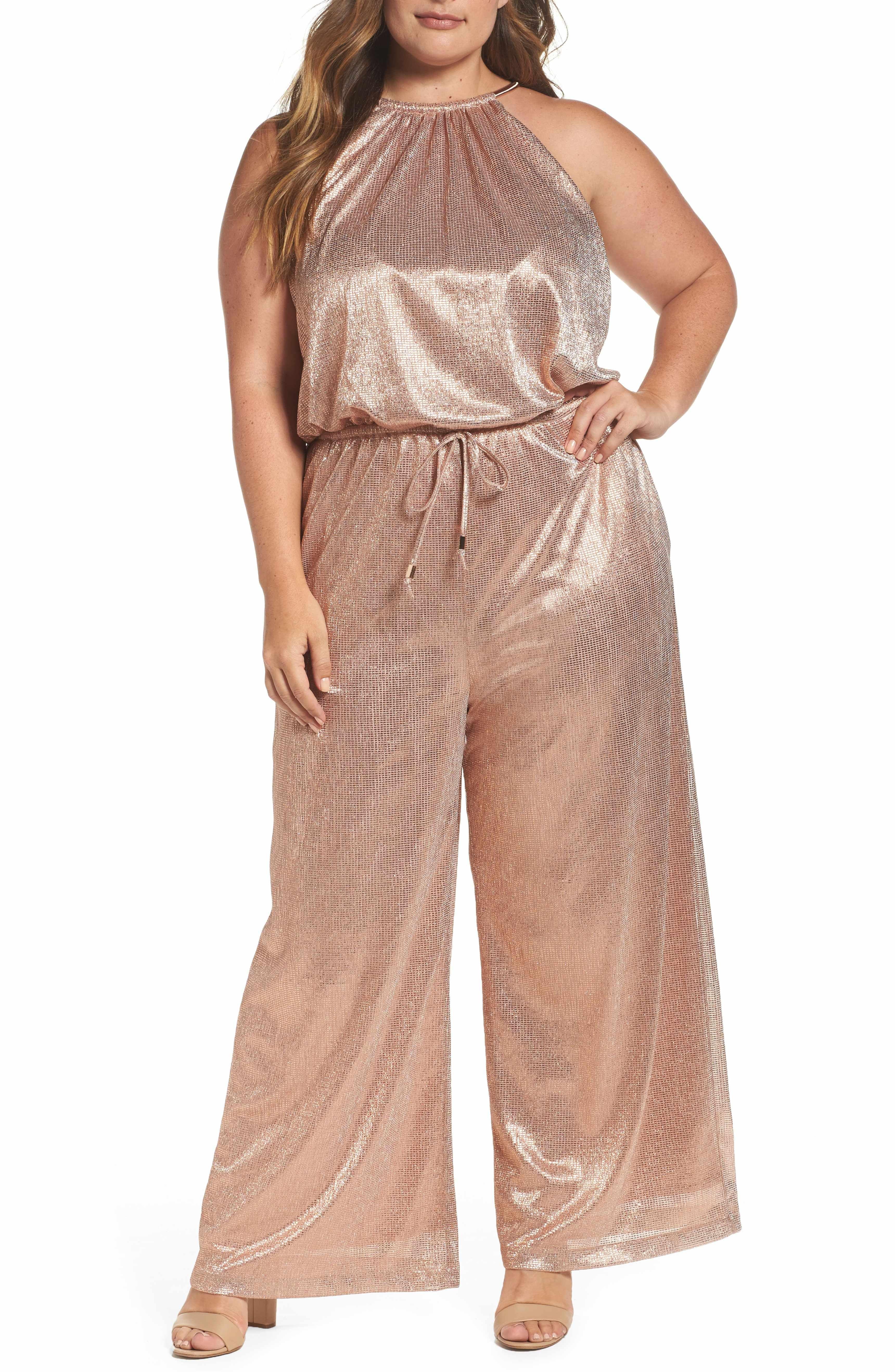 Wedding dresses under $200  Main Image  Vince Camuto Metallic Halter Jumpsuit Plus Size