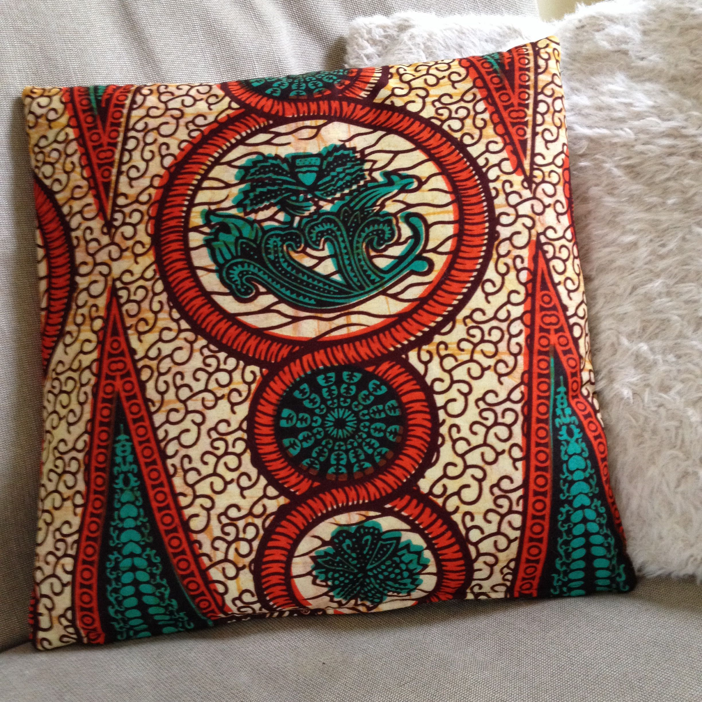 Made to measure cushion cover with ugandan fabrics i made this