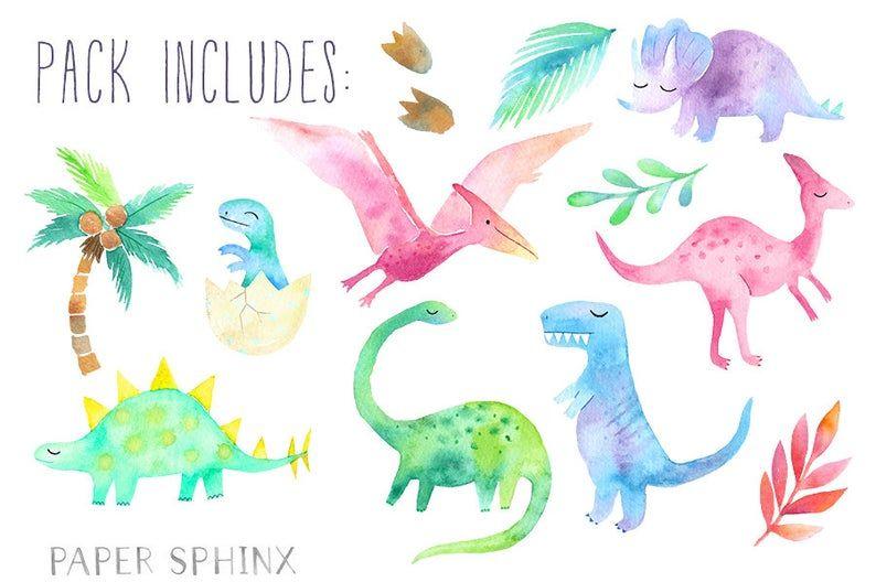 Watercolor Dinosaur Clipart Girly Dinosaur Clip Art Etsy In 2021 Dinosaur Clip Art Clip Art Dinosaur Illustration