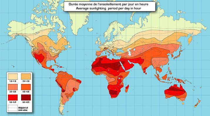 Populaire Carte mondiale de la durée moyenne de l'ensoleillement par jour en  SP56