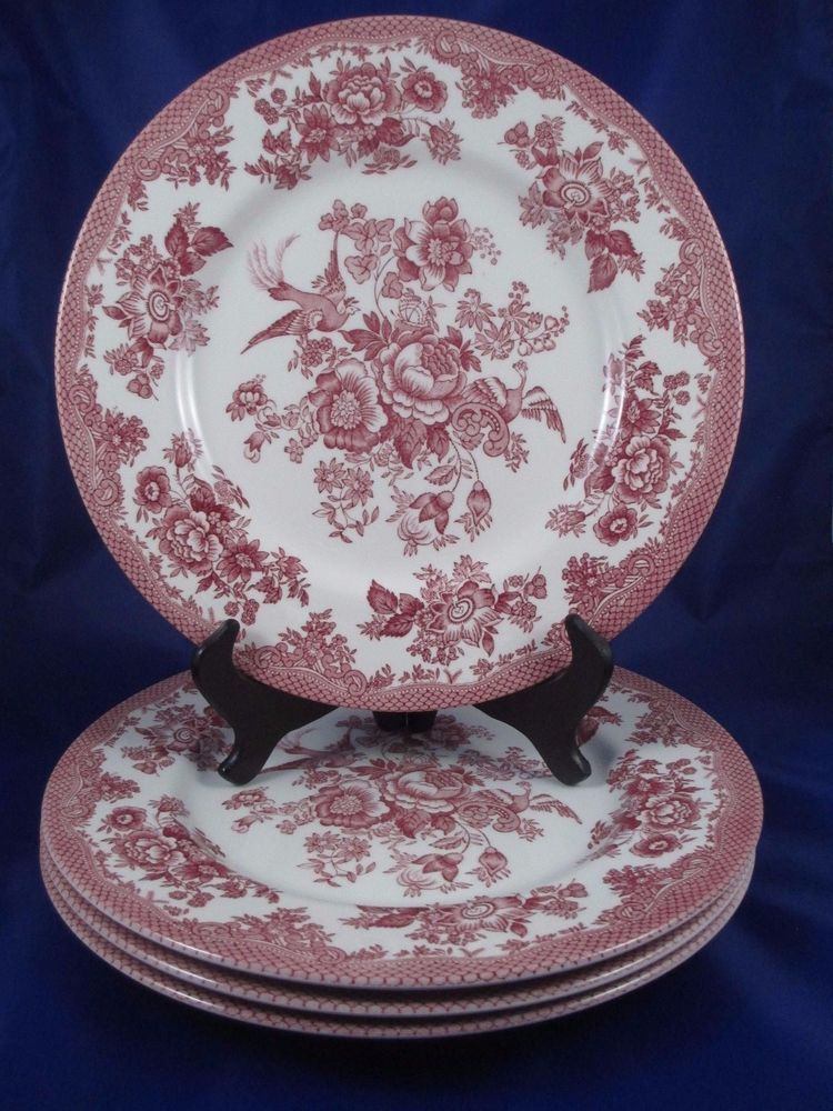 4 Gorgeous Royal Stafford ASIATIC PHEASANT Red Pink Cranberry Dinner Plates & 4 Gorgeous Royal Stafford ASIATIC PHEASANT Red Pink Cranberry Dinner ...