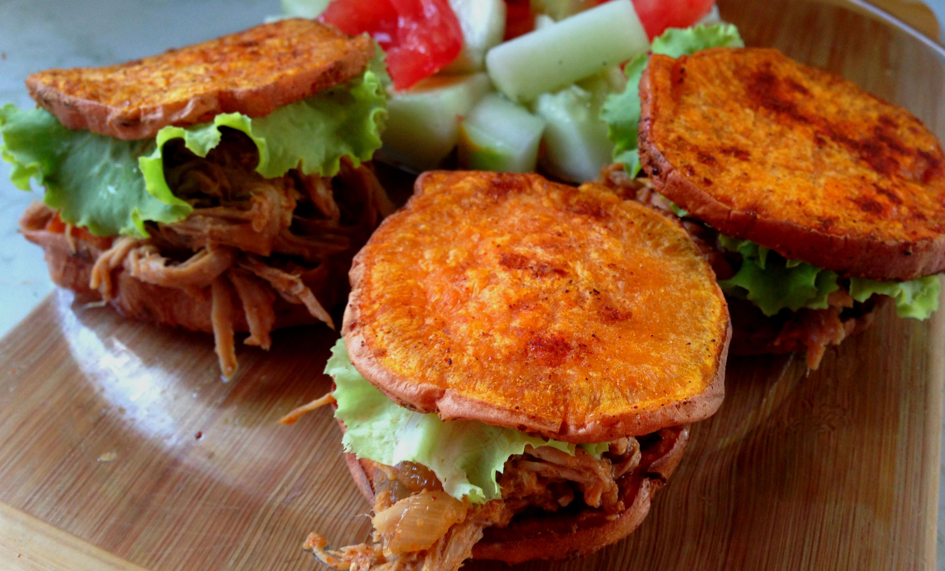 """Pulled Pork Sliders on Sweet Potato """"Bun"""". Or use the """"bun"""" for any type of burger/sandwich."""
