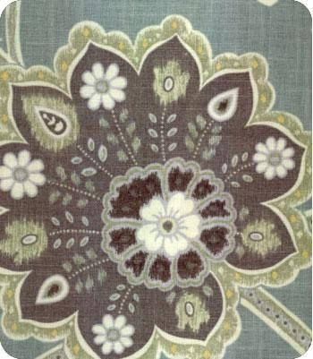Grey Blue Brown Sage Green And Ivory Floral Curtain