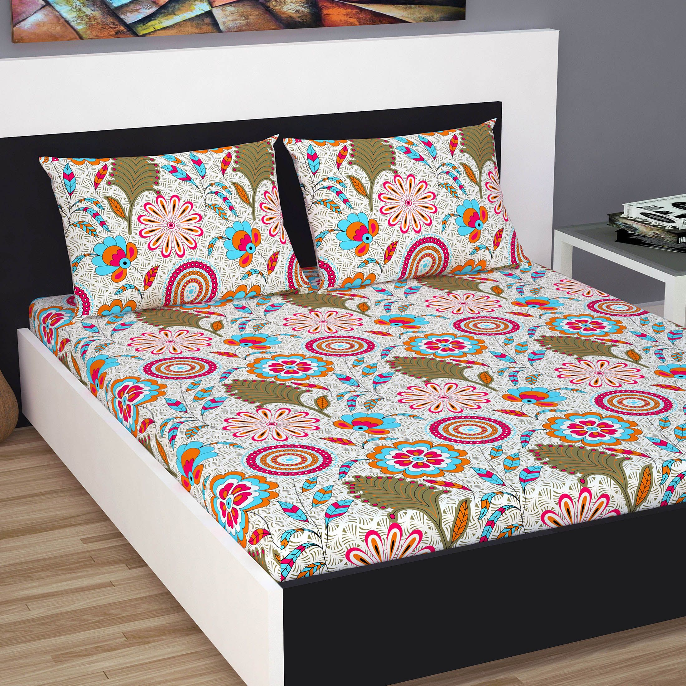 Divine Casa Classic 144 TC Cotton Double Bedsheet with 2