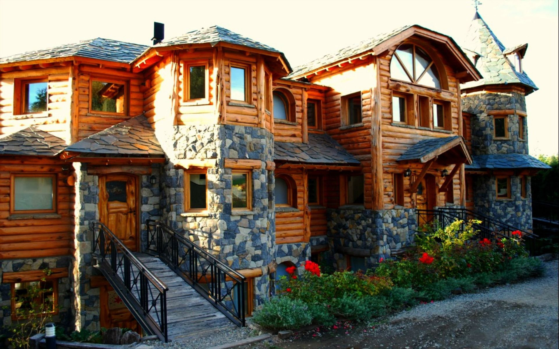 wood and stone house hd wallpaper x | wood houses | pinterest