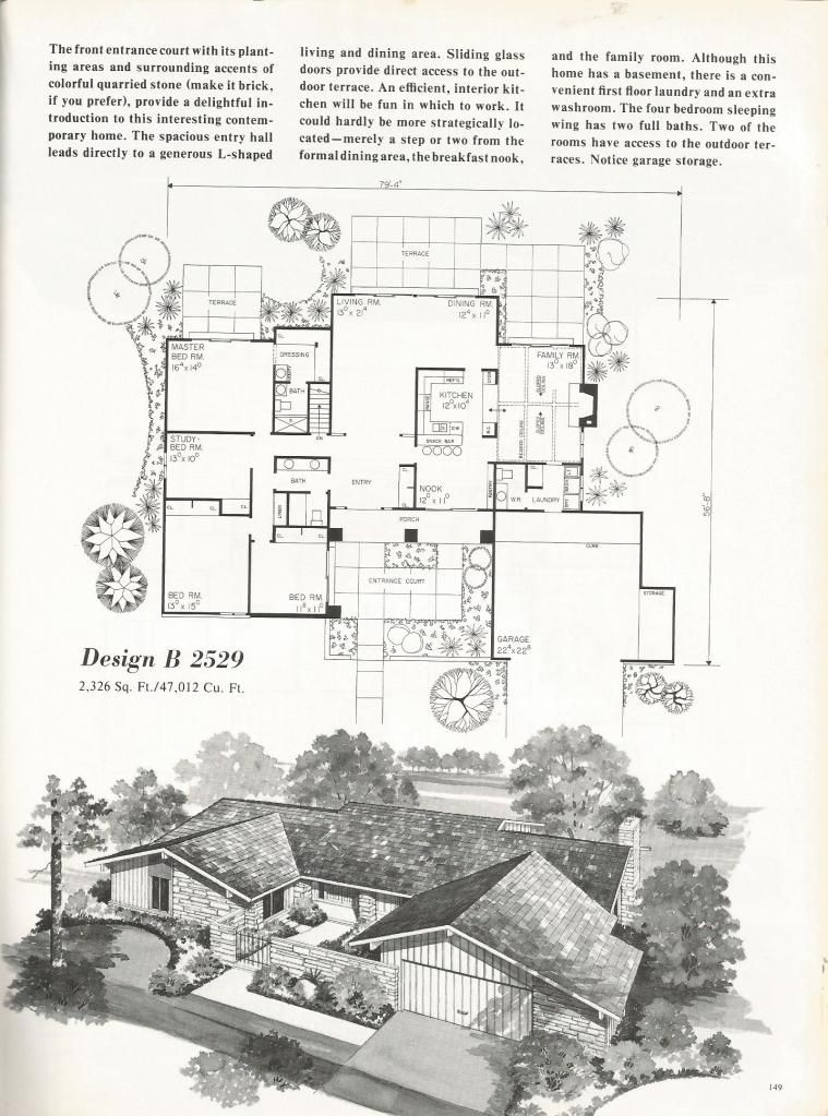 Vintage House Plans Mid Century Homes 1960s Homes Vintage House Plans House Plans Vintage House