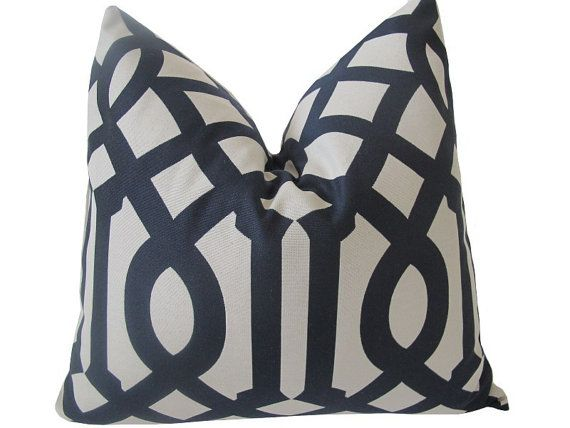 "Free US Shipping-Decorative Designer Pillow Cover-Black And Creme Imperial Trellis-20""x20"" inch"