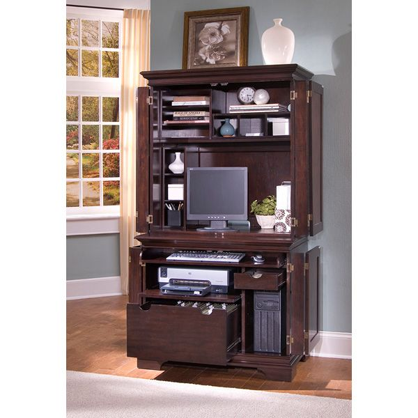 Home Styles Windsor Compact Computer Desk U0026 Hutch   Armoires