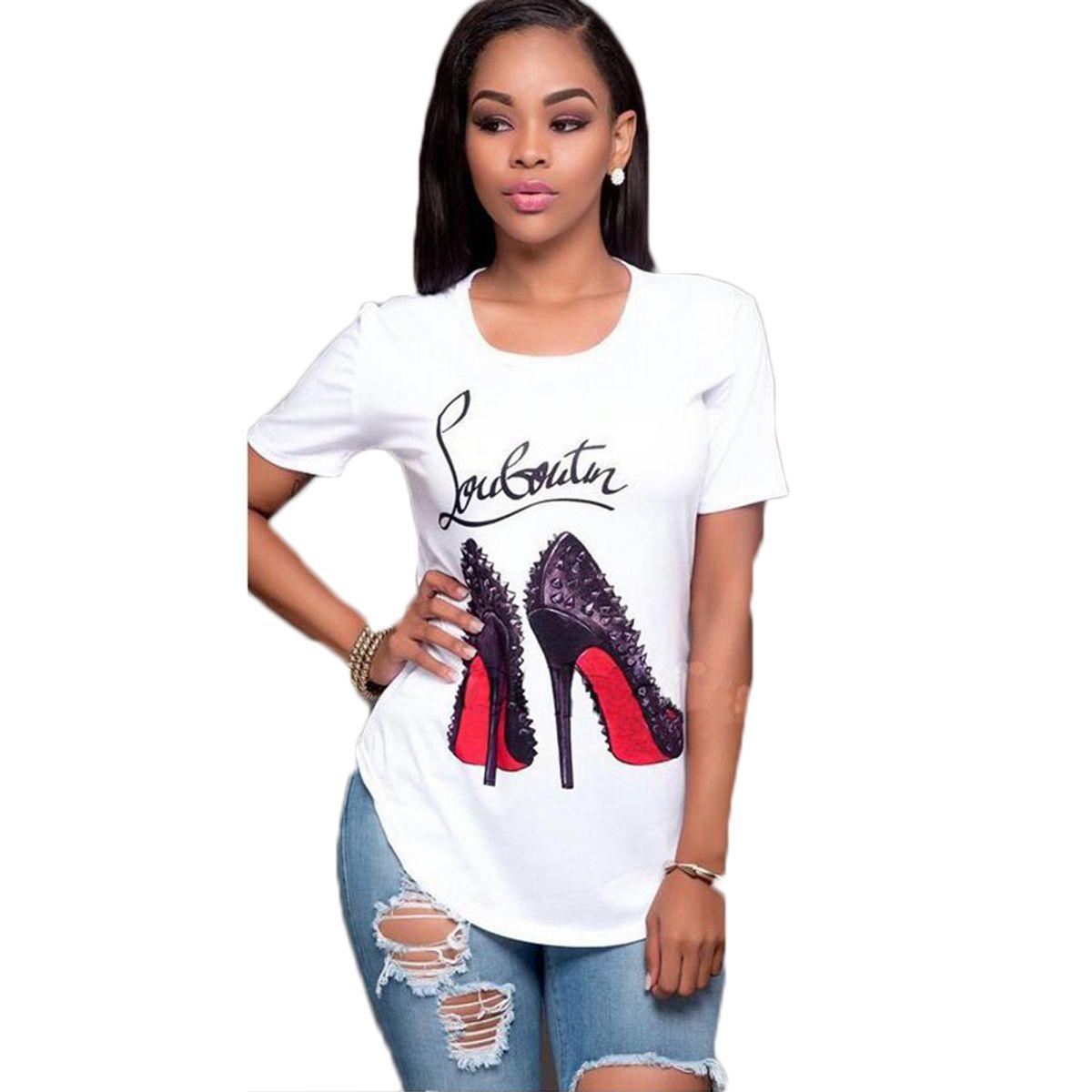 Women casual shoes print blouse short sleeve o neck rivet blouse