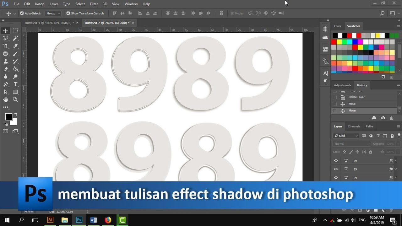 Cara Membuat Effect Shadow Pada Tulisan Di Photoshop Tutorial89 Tutorial Photoshop Di Video Tutorial Kali Ini Kita Akan Belajar M Photoshop Belajar Tulisan