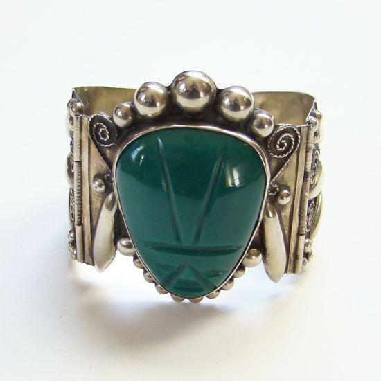 43.2 Grams Taxco TC-264 Mexico 925 Wide Hinged Bangle Bracelet with Malachite Inlay