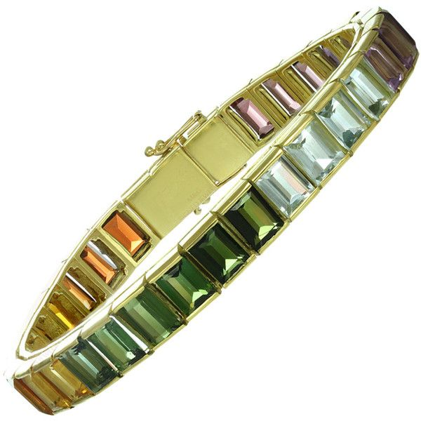 Pre-owned Multicolor Gemstone Yellow Gold Rainbow Bracelet ($2,900) ❤ liked on Polyvore featuring jewelry, bracelets, link bracelets, pandora jewelry, gold jewelry, gemstone jewelry, womens jewellery и gold bracelet