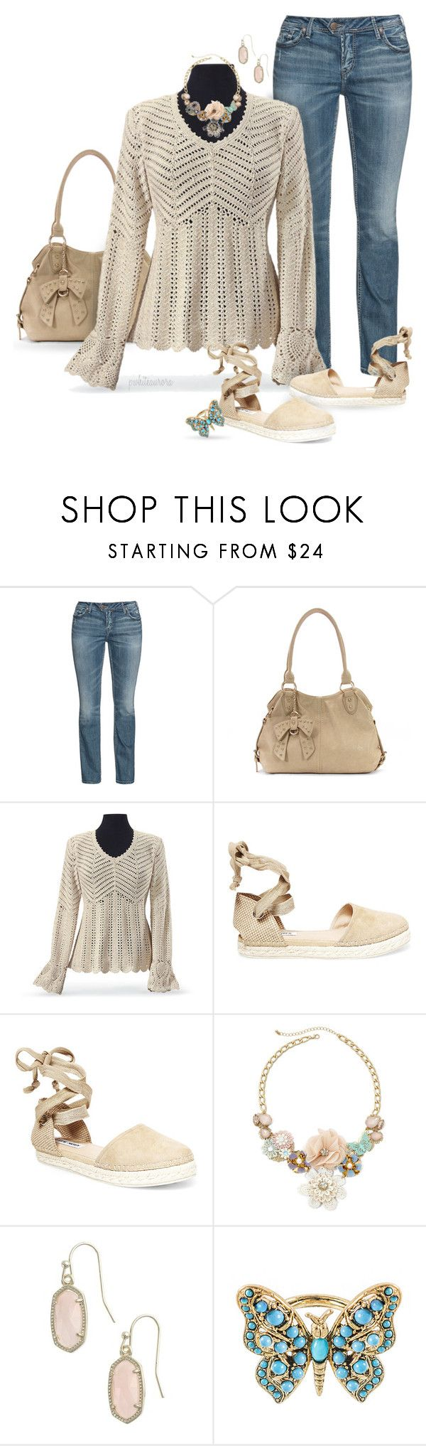 """""""Jeans & a Crocheted Sweater"""" by pwhiteaurora ❤ liked on Polyvore featuring Silver Jeans Co., Steve Madden, Decree and Kendra Scott"""