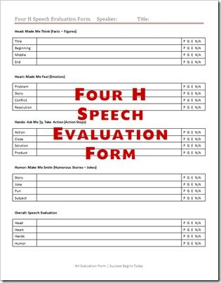 4-h-speech-evaluation-form Printables Pinterest - evaluation template
