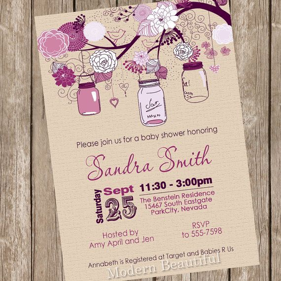 Shabby Chic Baby Shower Invitation / Printable Rustic Baby Girl ...
