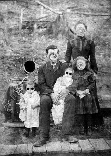 Holes Swirls Vintage Old Family Portrait Creepy Vintage