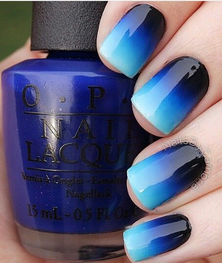 Love ombre nails and your blue polishes? Then you need to try this blue  ombre nail. For more cute nail design ideas, see the rest of our nail art  roundup, ... - Ombre Blue Nails Black Ombre, OPI And Ombre