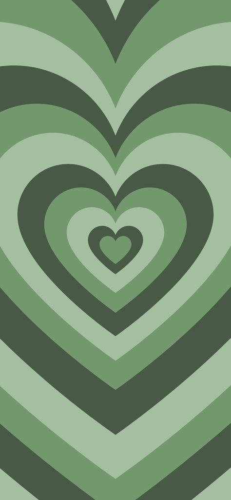 trendy green hearts