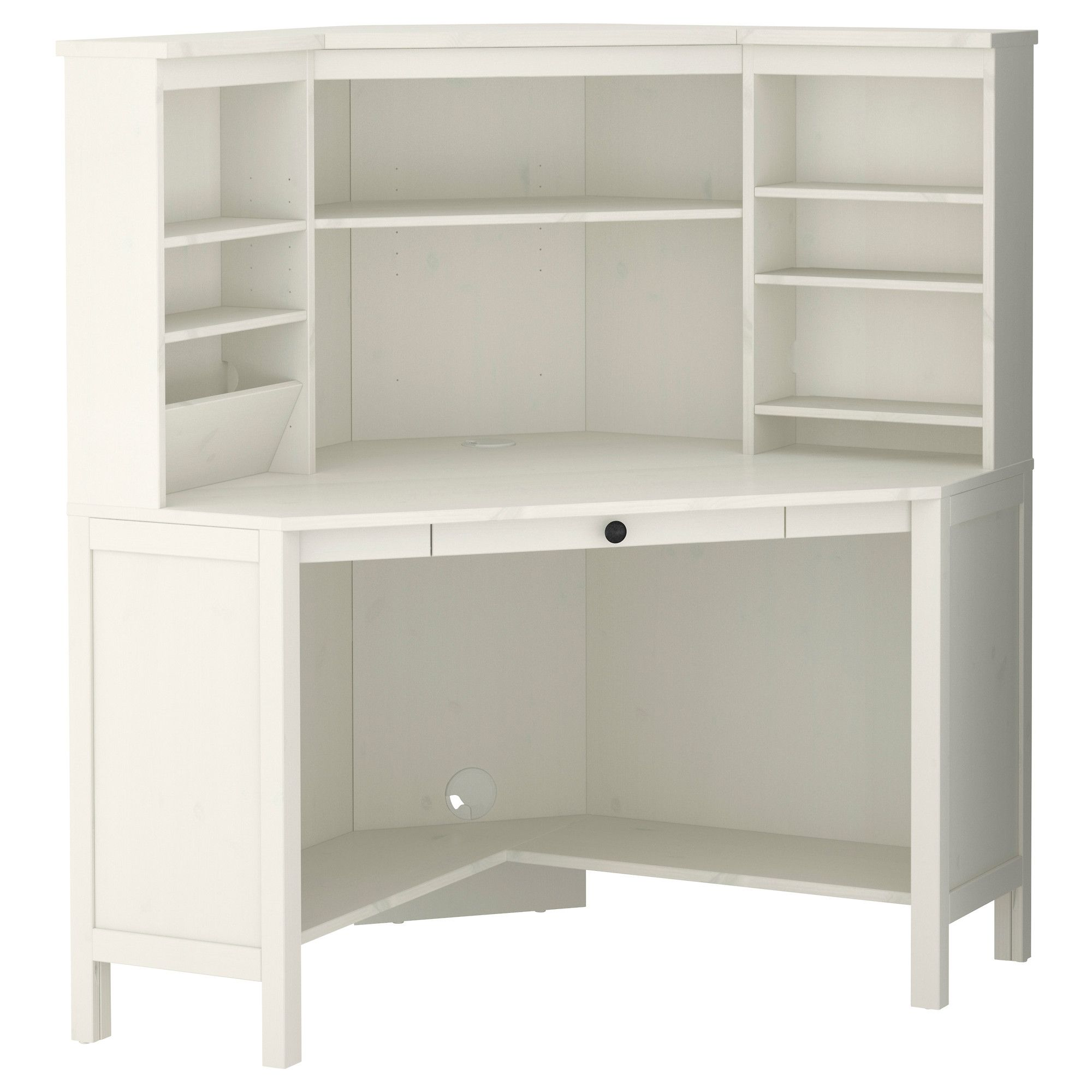 Hemnes corner workstation white stain ikea i would for White desk with hutch ikea