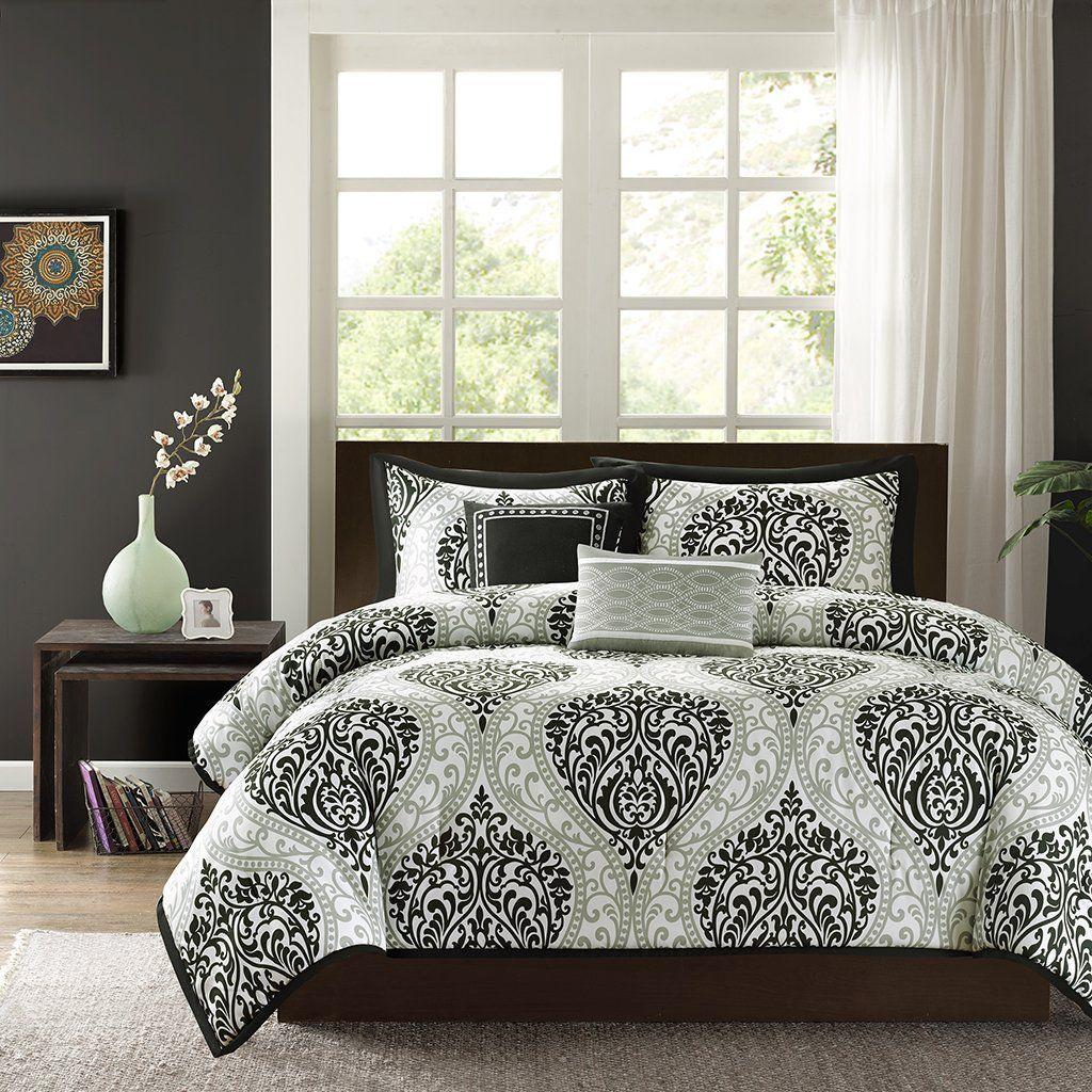 Elegant Black And White Bedroom Ideas Intelligent Design Senna All Seasons Comforter Set 4 Piece Aqua Comforter Sets Bedding Sets Damask Duvet Covers