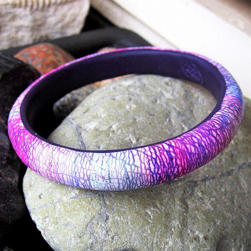 Violet rain - polymer clay bracelet