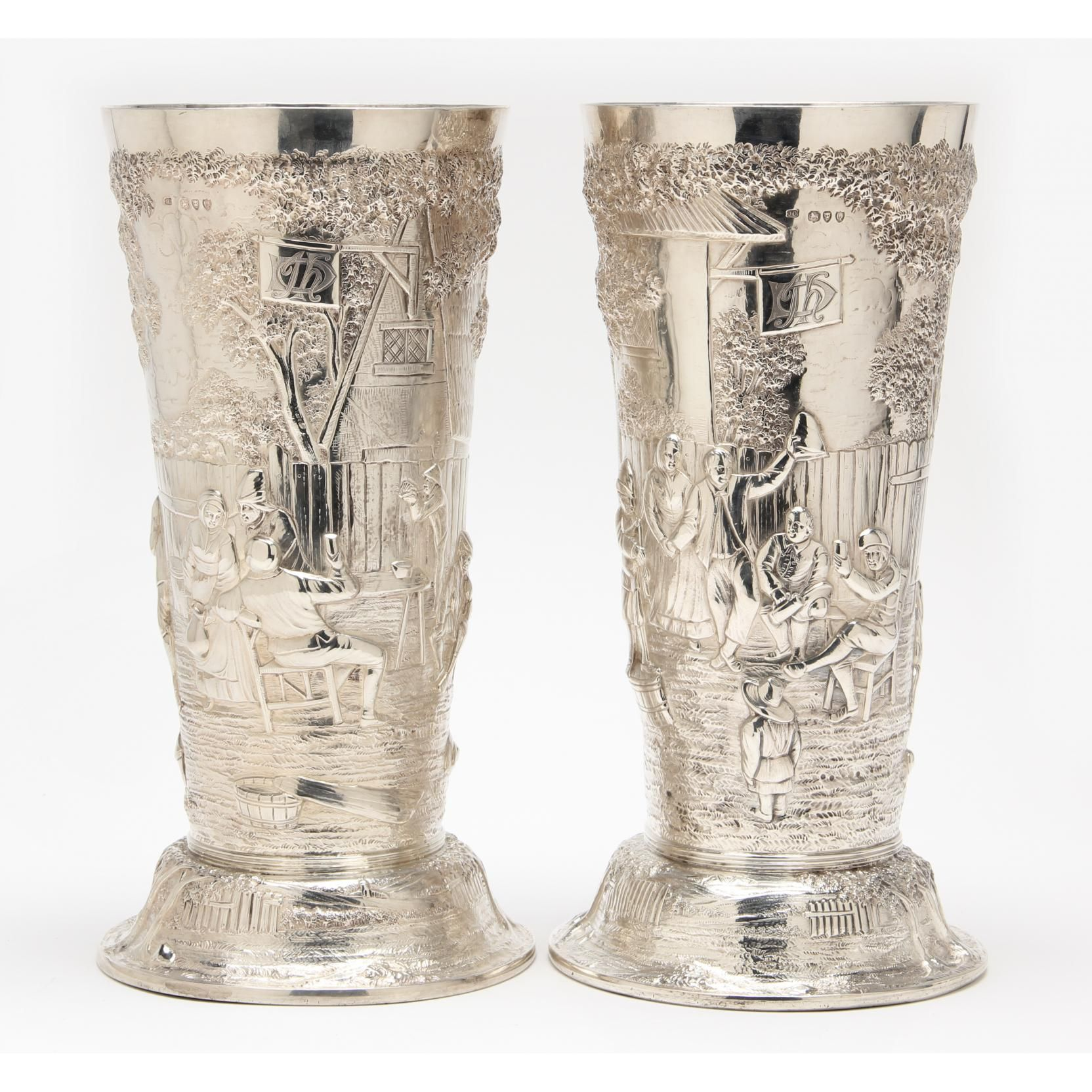 Pair of Victorian Large Silver Vases Sold $4,600