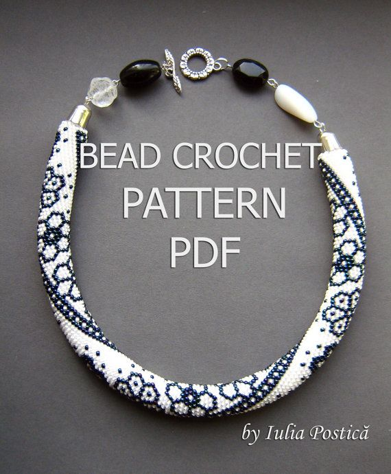 WINTER LACE Bead crochet pattern Beaded flowers necklace Seed bead ...