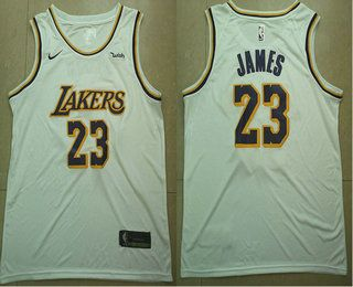 60b9dfb5b Men s Los Angeles Lakers  23 LeBron James White 2018-19 Nike Wish Swingman  Association Edition Stitched Jersey