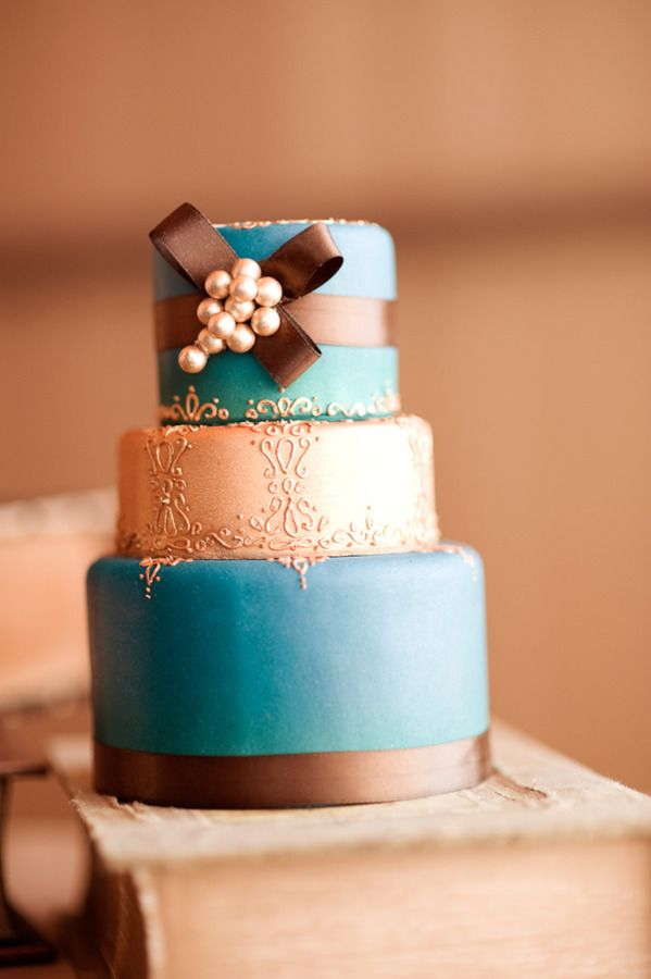 Teal and brown - Chocolate wedding cakes for fall weddings