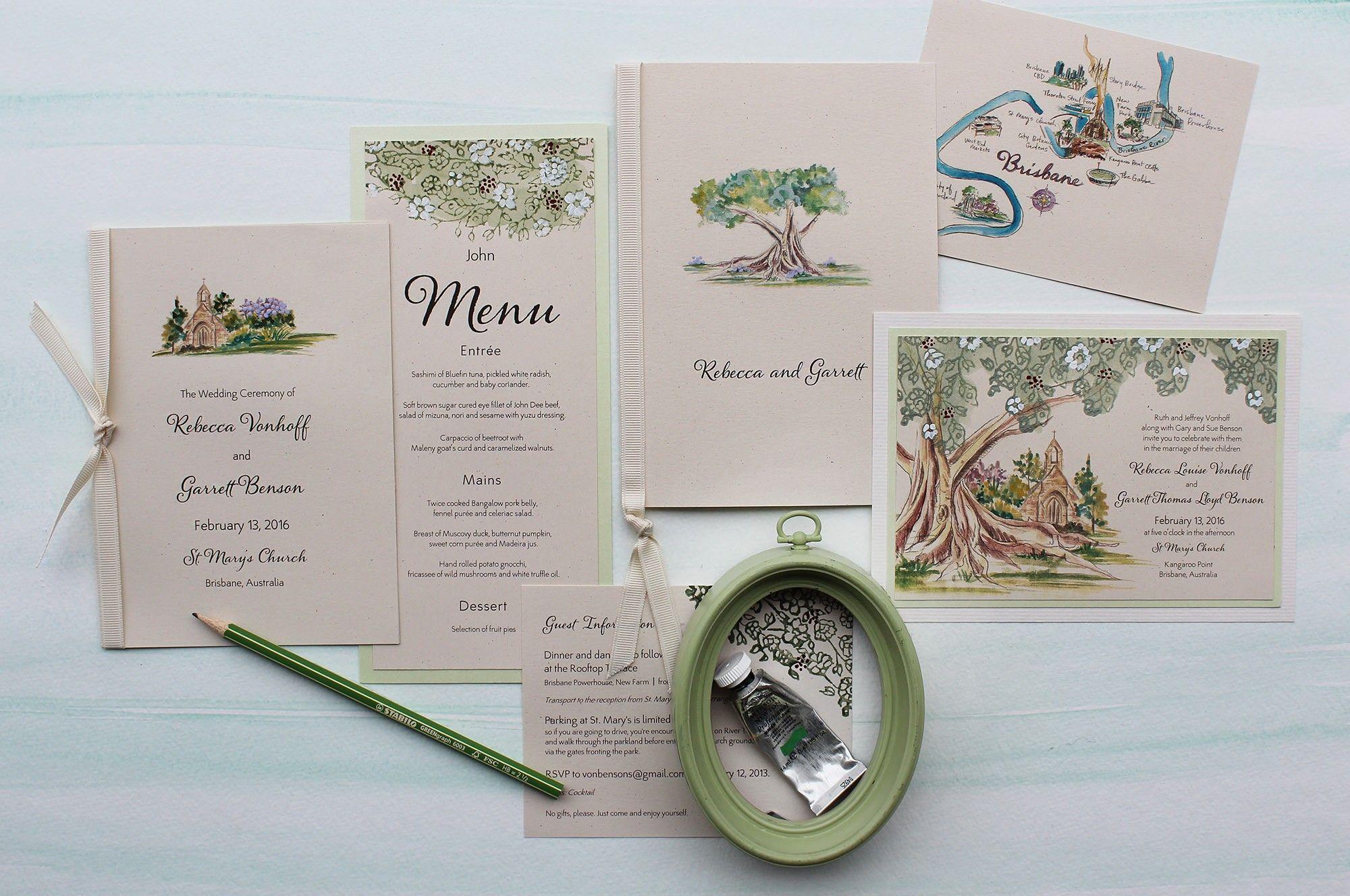 Watercolor Tree Wedding Invitations | Church weddings, Weddings and ...