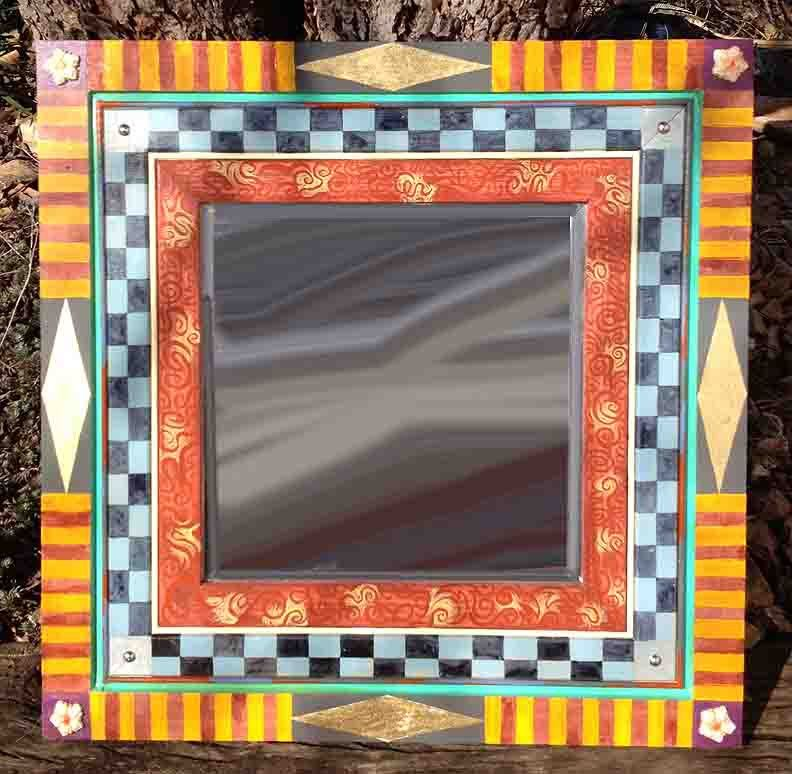 Wood Framed Square Beveled Mirror Cheques And Stripes