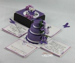 Purple White Quinceanera Exploding Box Invitation