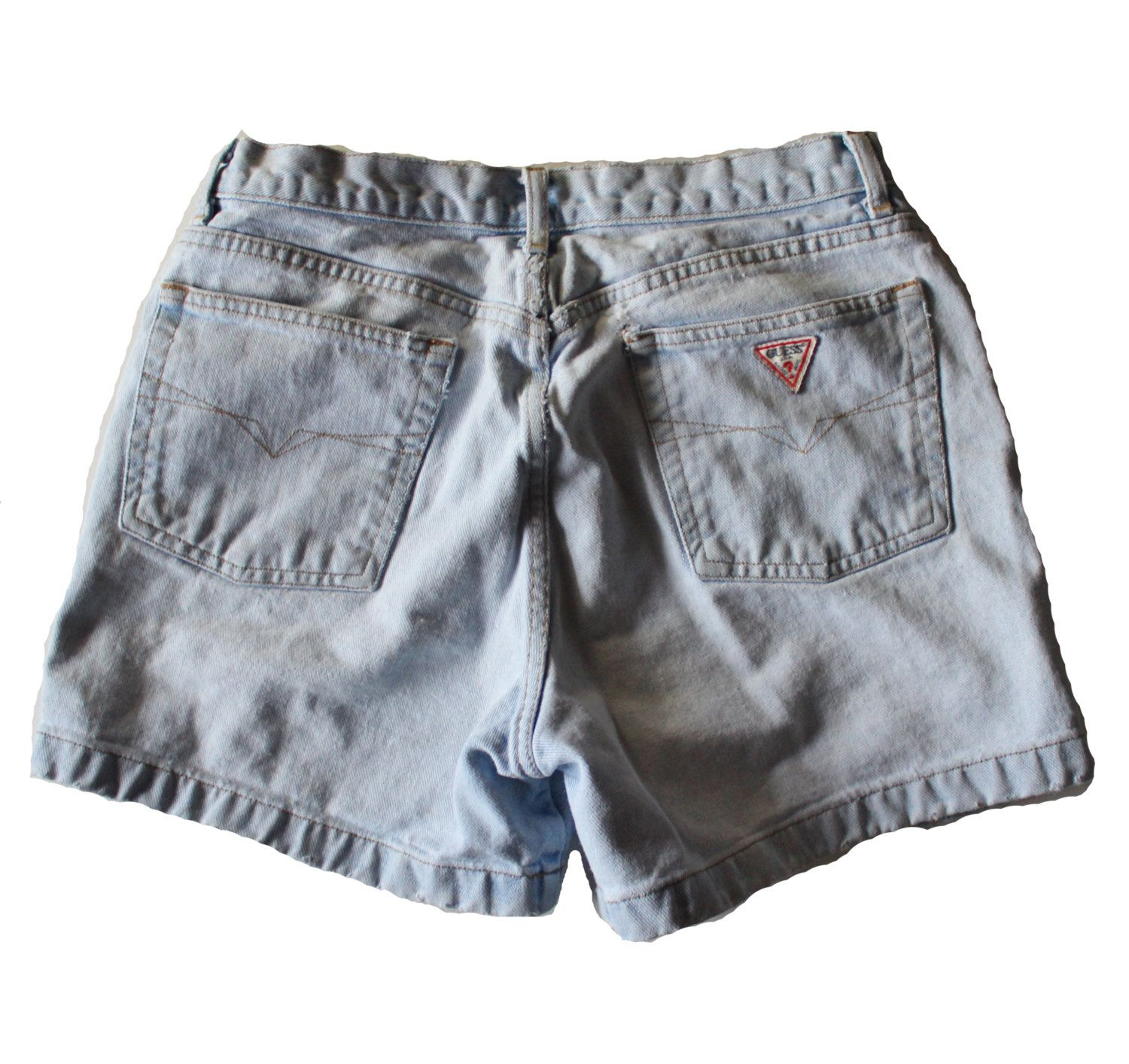 Vintage 90s GUESS Worn Out Denim Shorts Women M 31 - Mid Rise by bluebutterflyvintage on Etsy